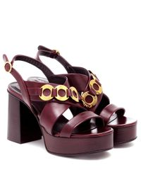 See By Chloé Red Plateausandalen aus Leder