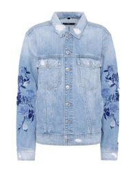 7 For All Mankind Blue Boyfriend Embroidered Denim Jacket
