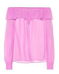 Blusa in gerogette di seta di Miu Miu in Pink