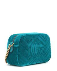 Borsa GG Marmont Small in velluto di Gucci in Blue