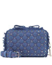 Valentino Garavani Blue Rockstud Spike Denim Shoulder Bag