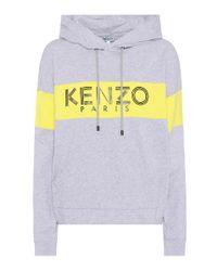 Sweat-shirt à capuche en coton imprimé KENZO en coloris Gray