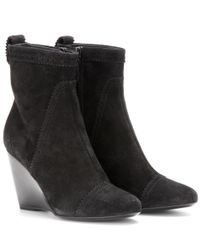 Balenciaga | Black Suede Brogue Wedge Ankle Boots | Lyst