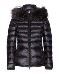 Duvetica Black Down Jacket With Hood - Blue