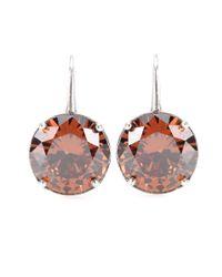 Bottega Veneta Brown Crystal-embellished Silver Earrings