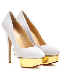 Charlotte Olympia | White Dolly Suede Platform Pumps | Lyst