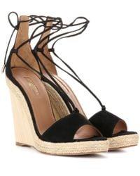 Aquazzura - Black Alexa Suede Wedge Sandals - Lyst