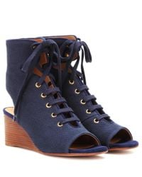 Chloé | Blue Iness Lace-up Wedge Sandals | Lyst