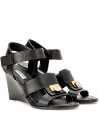 Balenciaga Black Embellished Leather Wedge Sandals