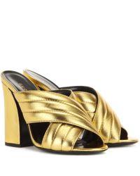 Gucci | Metallic Leather Sandals | Lyst