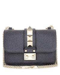 Valentino | Gray Garavani Lock Mini Leather Shoulder Bag | Lyst