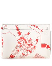 Loewe Red T Pouch Printed Leather Clutch