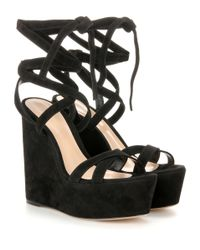 Gianvito Rossi - Black Suede Platform Wedge Sandals - Lyst