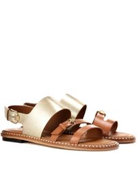 Tod's - Brown Metallic Leather Sandals - Lyst