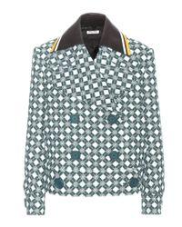 Miu Miu | Green Printed Wool Jacket | Lyst