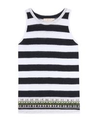 Tory Burch - Black Jackie Embellished Striped Tank Top - Lyst