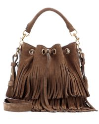 Saint Laurent Brown Emmanuelle Small Fringed Suede Bucket Bag