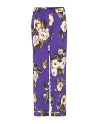 Dolce & Gabbana - Purple Printed Silk Trousers - Lyst