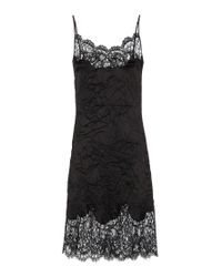 Givenchy | Black Lace-trimmed Wool And Silk-Blend Slip Dress | Lyst