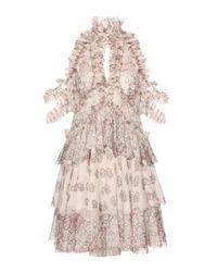 Alexander McQueen - Pink Printed Ruffled Silk Chiffon Dress - Lyst