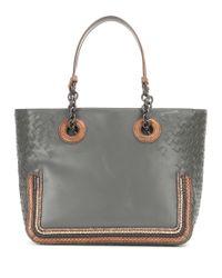 Bottega Veneta - Gray Intrecciato Snakeskin-trimmed Leather Tote - Lyst