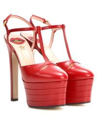 Gucci | Red Leather Platform Pumps | Lyst