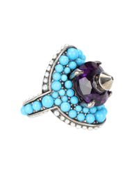 Gucci | Blue Crystal And Bead-embellished Ring | Lyst