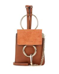 Chloé - Brown Faye Mini Bracelet Leather And Suede Bag - Lyst