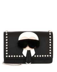 Fendi - Black Karlito Fur-trimmed Leather Shoulder Bag - Lyst