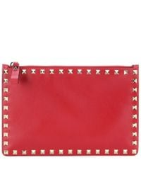 Valentino Garavani Red Rockstud Leather Pouch