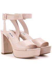 Miu Miu   Pink Patent Leather Platform Sandals   Lyst