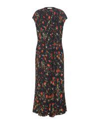 Balenciaga Black Floral-printed Crêpe Maxi Dress