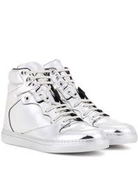 Balenciaga - Metallic Leather High-top Sneakers - Lyst