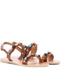 Ancient Greek Sandals Brown Clio Stones Leather Sandals