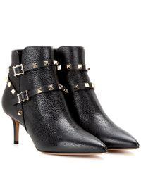 Valentino | Black Rockstud Napa Leather 65mm Ankle Boot | Lyst