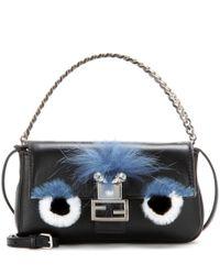 Fendi   Blue Micro Baguette Fur-trimmed Leather Shoulder Bag   Lyst