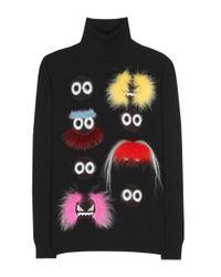 Fendi | Black - Bag Bugs Jumper - Women - Fox Fur/goat Skin/mink Fur/glass - 38 | Lyst