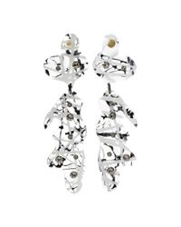 Christopher Kane - White Crystal-embellished Transparant Earrings - Lyst