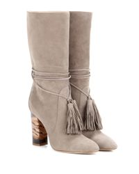Burberry - Gray Winningham Suede Mid-Calf Boots - Lyst