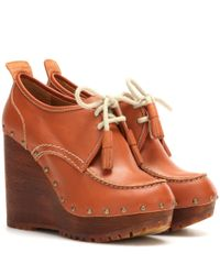 See By Chloé | Brown Leather Wedge Ankle Boots | Lyst