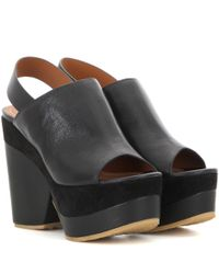 See By Chloé - Black Leather Platform Sandals - Lyst