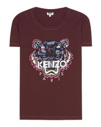 KENZO - Purple Embroidered Cotton T-shirt - Lyst