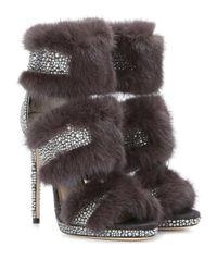 Jimmy Choo Gray Kai 120 Mink Fur-trimmed Crystal-embellished Suede Sandals