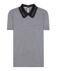 Miu Miu - Gray Cotton T-shirt With Lace Collar - Lyst