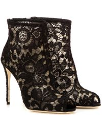 Dolce & Gabbana | Black Lace Open-toe Ankle Boots | Lyst