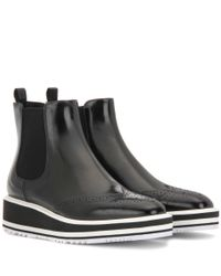 Prada | Black Chelsea Patent Leather Platform Ankle Boots | Lyst