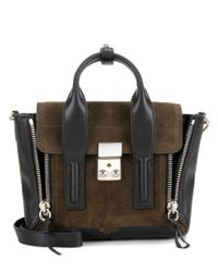 3.1 Phillip Lim - Green Pashli Mini Suede And Leather Shoulder Bag - Lyst