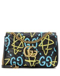 Gucci   Blue Ghost Gg Marmont Medium Leather Shoulder Bag   Lyst