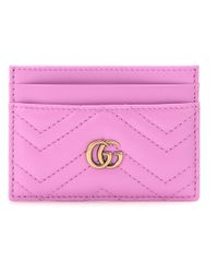Gucci Pink Gg Marmont Matelassé Leather Cardholder