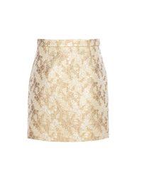 Michael Kors | Natural Metallic Jacquard Wool And Silk-blend Miniskirt | Lyst
